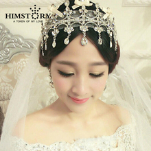 New Vintage Luxury Rhinestone Lace Tiara Headband Bridal Hair Accessories Wedding Jewelry Crystal Crown free shipping