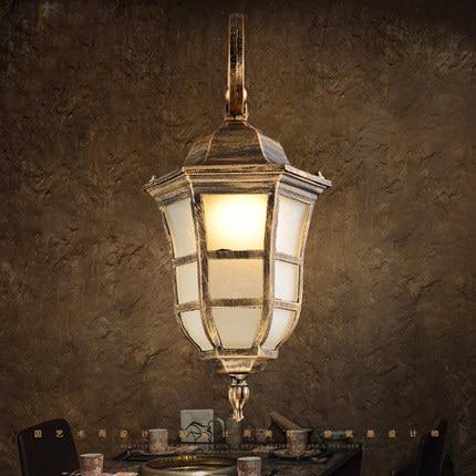 American vintage bronze aluminum waterproof outdoor wall sconce lamp European retro marble glass E27 LED bulb wall light fixture