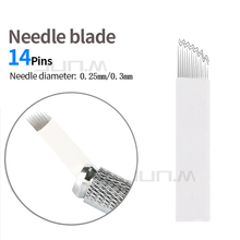 500 PCS 14Pin High Low Microblading  Needles Blade Eyebrow Permanent Makeup Manual For 3D Embroidery Tattoo Pen Machine