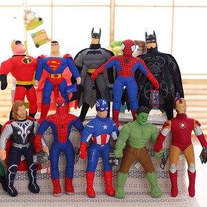 40 см Человек-паук, Бэтмен, Супермен, Железный человек, Капитан Америка, игрушка, фигурка, плюшевая кукла, детские игрушки, рождественский под...