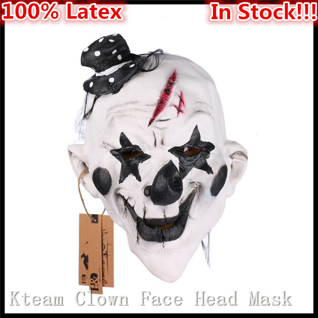 Scary Clown Costume Latex Mask Full Face Halloween Party Masquerade Adult Props
