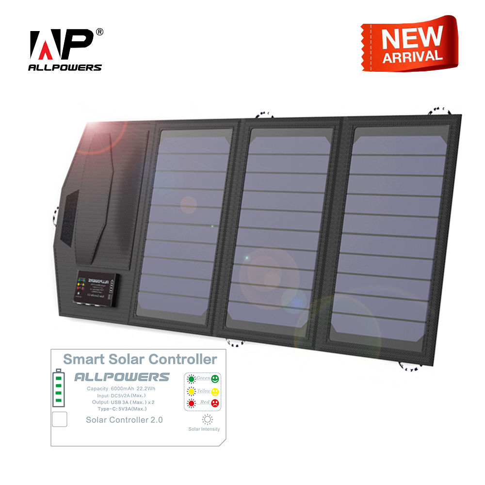 ALLPOWERS Solar Battery Charger Mobile Power Bank 6000mAh Portable 5V 15W Dual USB Travel Outdoors Folding Camping Solar Panel