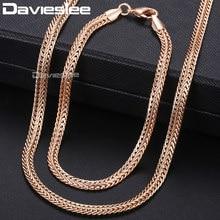 cb43dfe5d3d0 Davieslee 585 conjunto de joyas de oro rosa para mujeres trenzadas Cadena  de eslabones de Foxtail conjunto de pulsera al por may.
