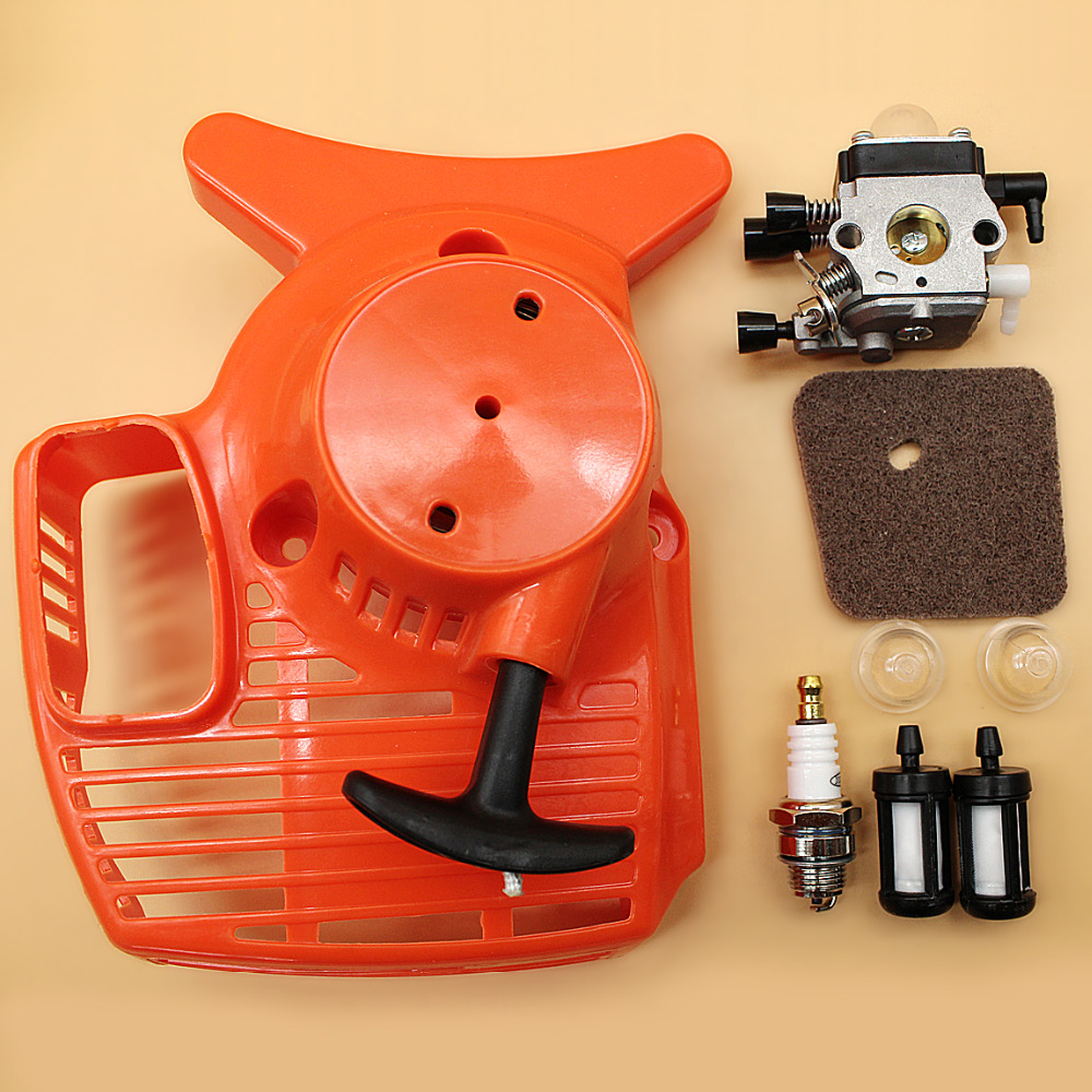 Recoil Starter <font><b>Carburetor</b></font> Air Filter Kit <font><b>For</b></font> <font><b>STIHL</b></font> FS55 FS46 <font><b>FS45</b></font> <font><b>FS38</b></font> FC55 HL45 KM55 FS 55 Trimmer Edger Weedeater 41401200619 image
