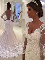 New Design Long Wedding Dress 2019 V-neck Long Sleeves Court Train Bridal Gowns Vestido de noiva Long Sleeves