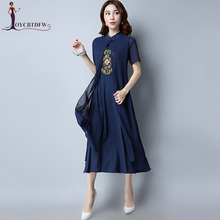 2018 Summer Autumn Women Cotton Linen Embroidery Dress Fake Two New Vestidos National Style Female Fashion Long Parties Dresses