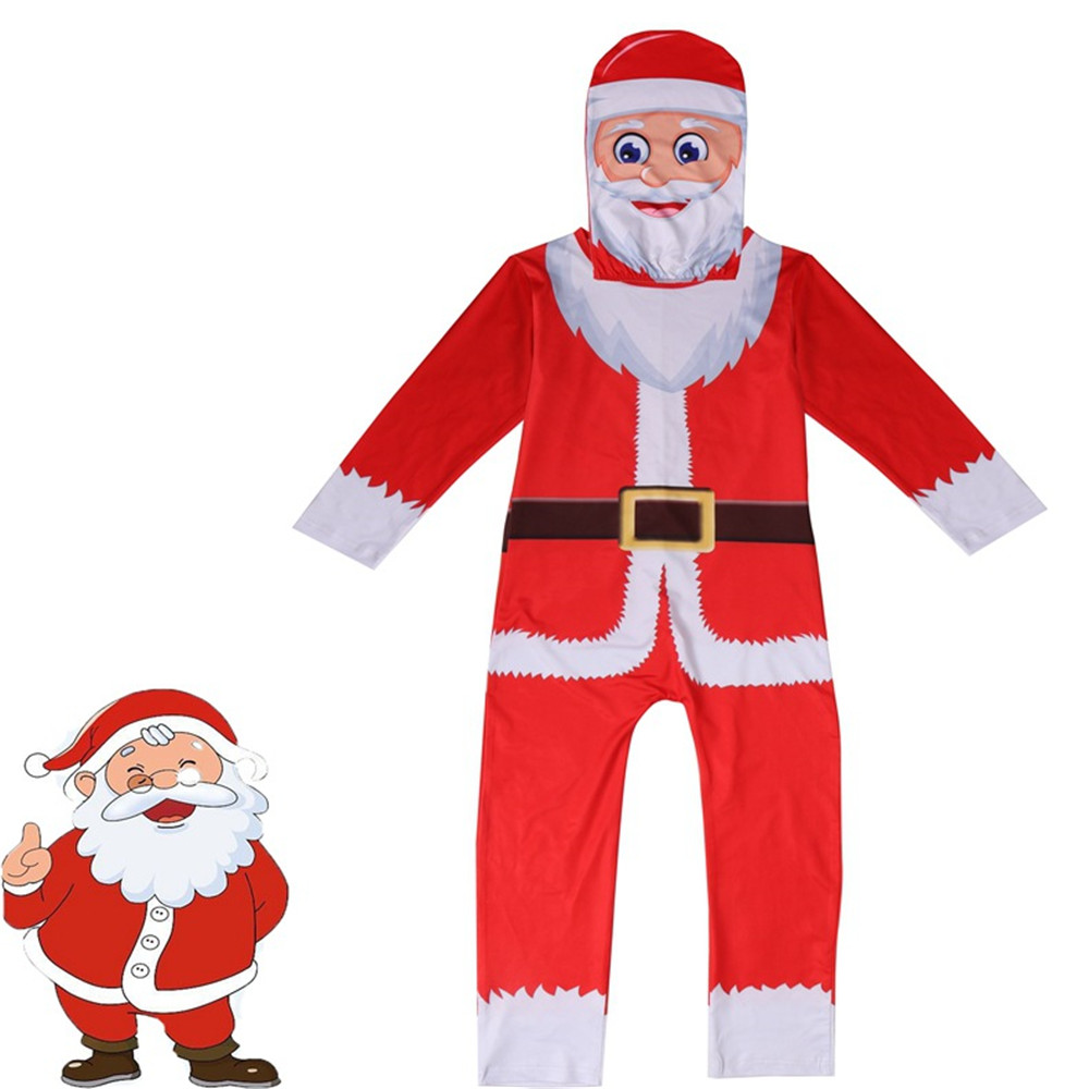 Cosplay christmas Santa Claus costumes kids Tight bodysuit Christmas Elf Red jumpsuits/mask for children Fancy Dress set