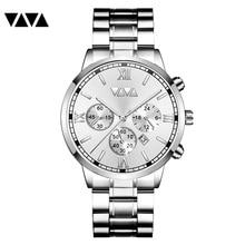 Relogio ino luksusowe srebrny zegarek kwarcowy dla mężczyzn ze stali nierdzewnej sport wodoodporny business casual zegarek męski