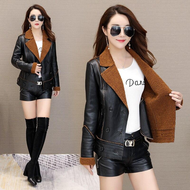 Womens Lapel Plus Velvet   Leather   Jackets Winter Autumn Warm Short Section   Leather   Coats Large Size Faux Lampskin Fur Coat J2645