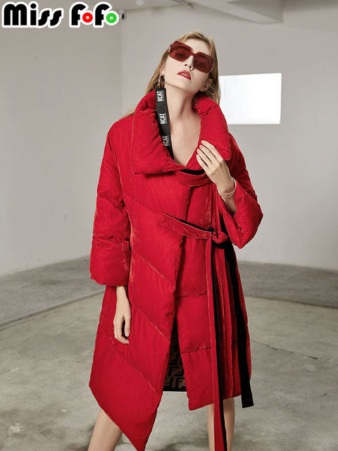 MissFoFo 2018 Новая модная женская куртка на утином пуху бархат свободный пояс однотонный очень теплый высокое качество красный черный размер s-xl