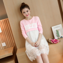 2016 Fashion Korean version of sweet lace stitching maternity clothes breastfeeding dress fake two piece long