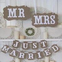 Vintage MR/MRS Just Married wedding photo puntelli giorno di san valentino di nozze rustico ghirlanda/Sedia di Cerimonia Nuziale banner photobooth
