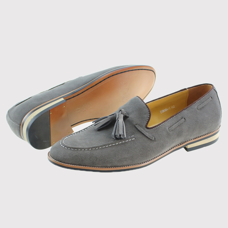 Brand New Smart Mens Gray Wedding Dress Shoes Men Cow Suede Genuine Leather Casual Loafers Male Driving Flats Party Footwear relikey brand men casual handmade shoes cow suede male oxfords spring high quality genuine leather flats classics dress shoes