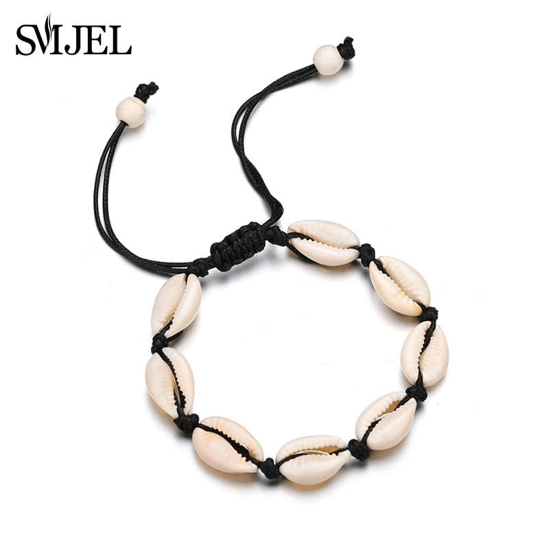 SMJEL New Nature Shell Bracelets Beige Color Rope Chain Handmade Sea Shell Bracelet Women Accessories Beach Jewelry