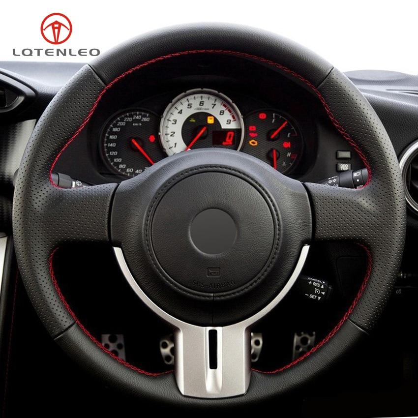 LQTENLEO Black Genuine Leather DIY Hand stitched Car Steering Wheel Cover for Toyota 86 Subaru BRZ