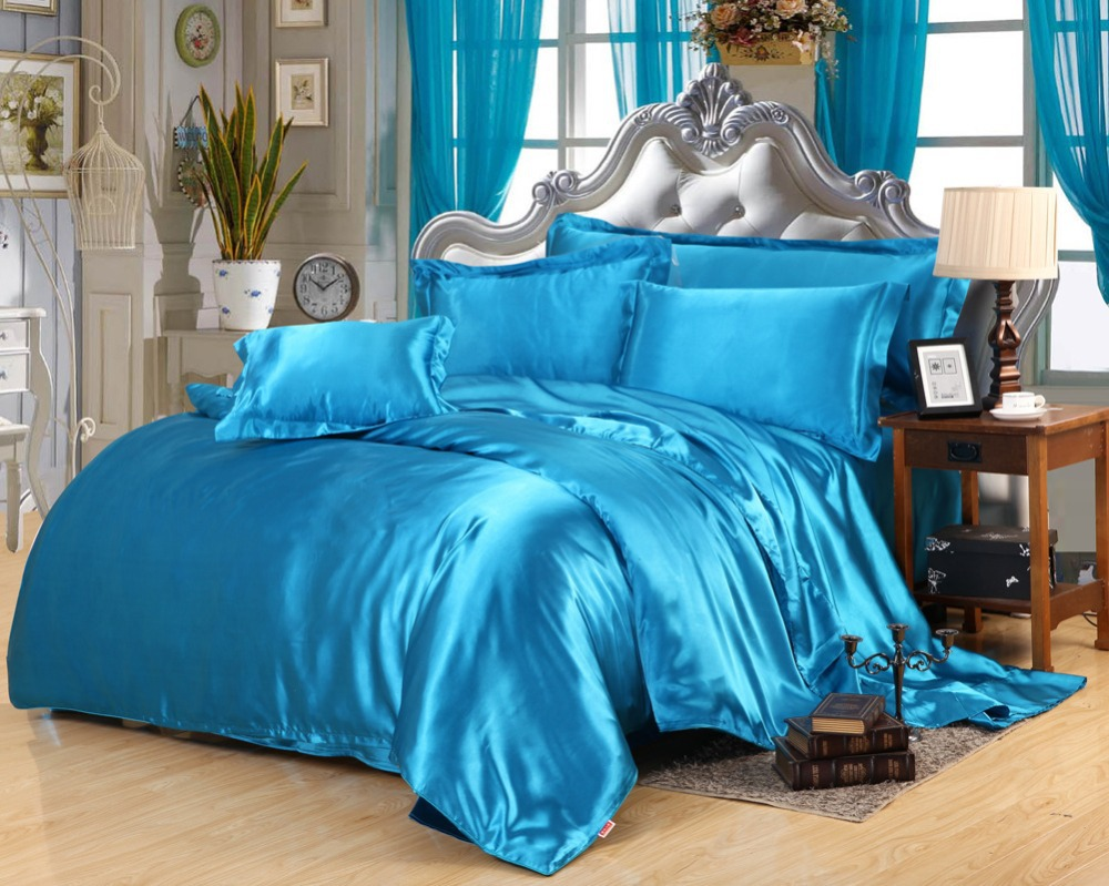 100 pure tabby silk bedding set queen king size bed set. Black Bedroom Furniture Sets. Home Design Ideas