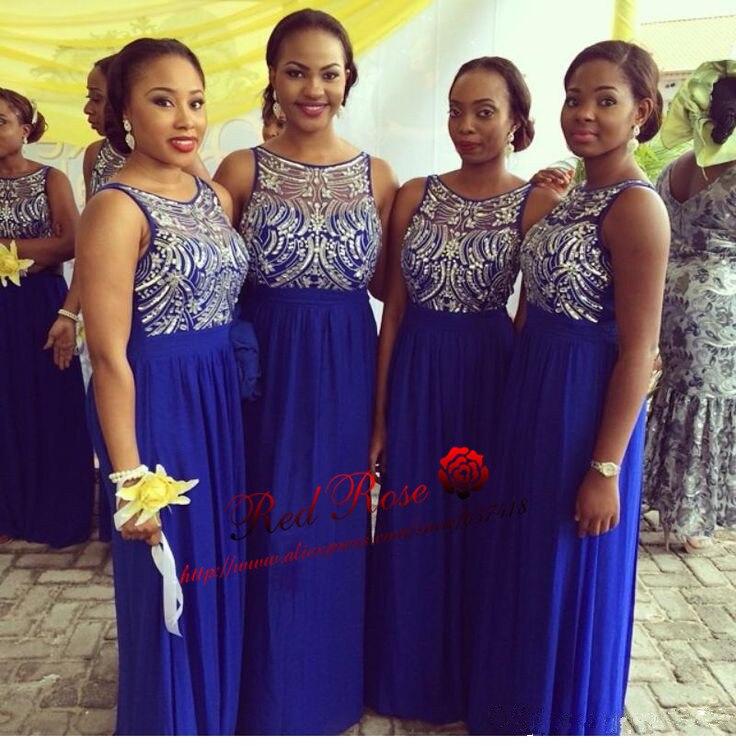 Синее Королевское для подружки невесты платье с блестками и бисером длинное шифоновое для невесты платье - Цвет: Синий