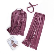 SILKBEUTY Pajamas Womens Sexy Velvet Mujer V-neck Pyjamas Women Long Sleeve Purple Pants Cotton Sleepwear