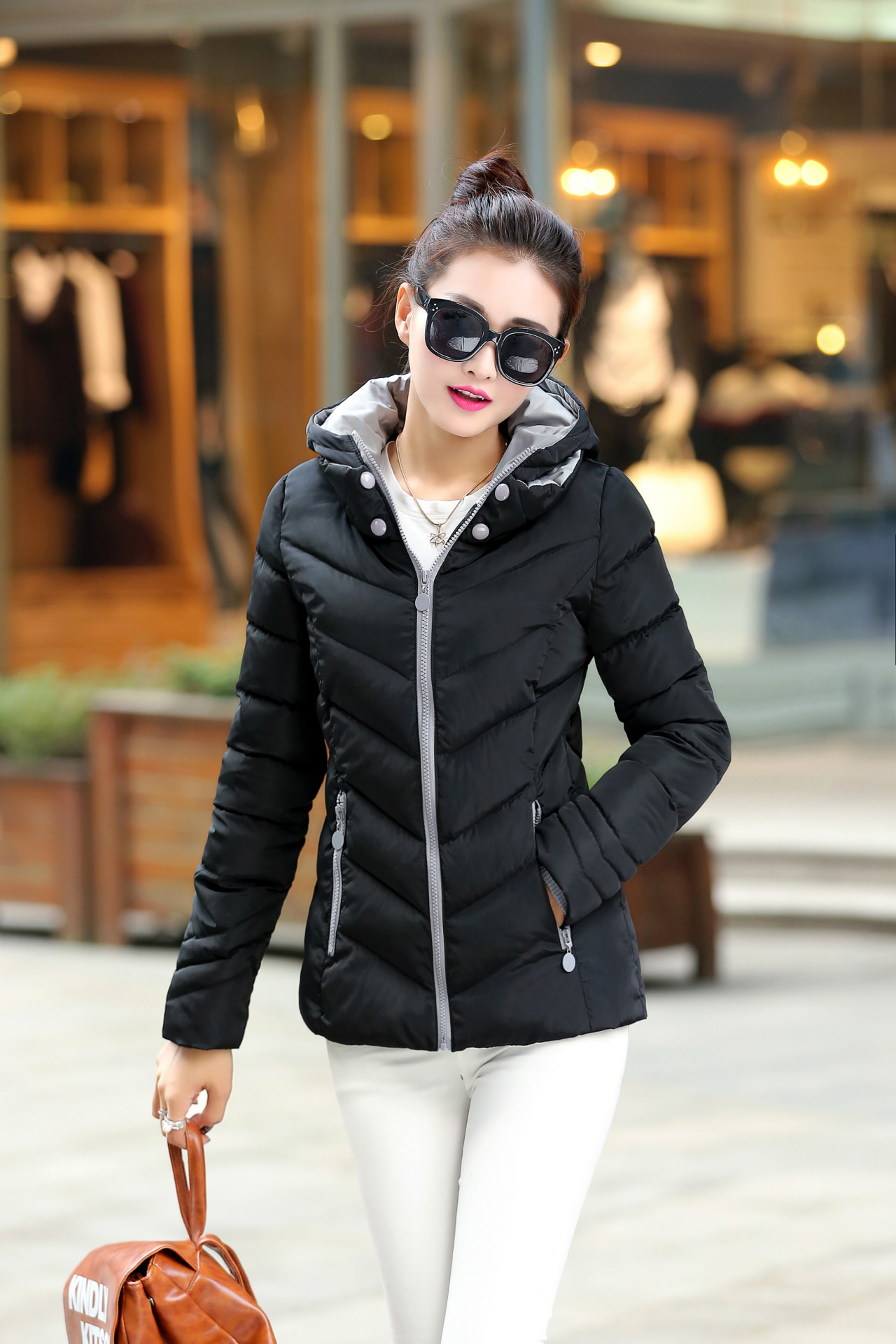 ФОТО Women Winter Outwear Light Coat Hooded Down Jacket Thickened Hooded Down cloth Overcoat Women Coat Winter Outerwear with Hooded