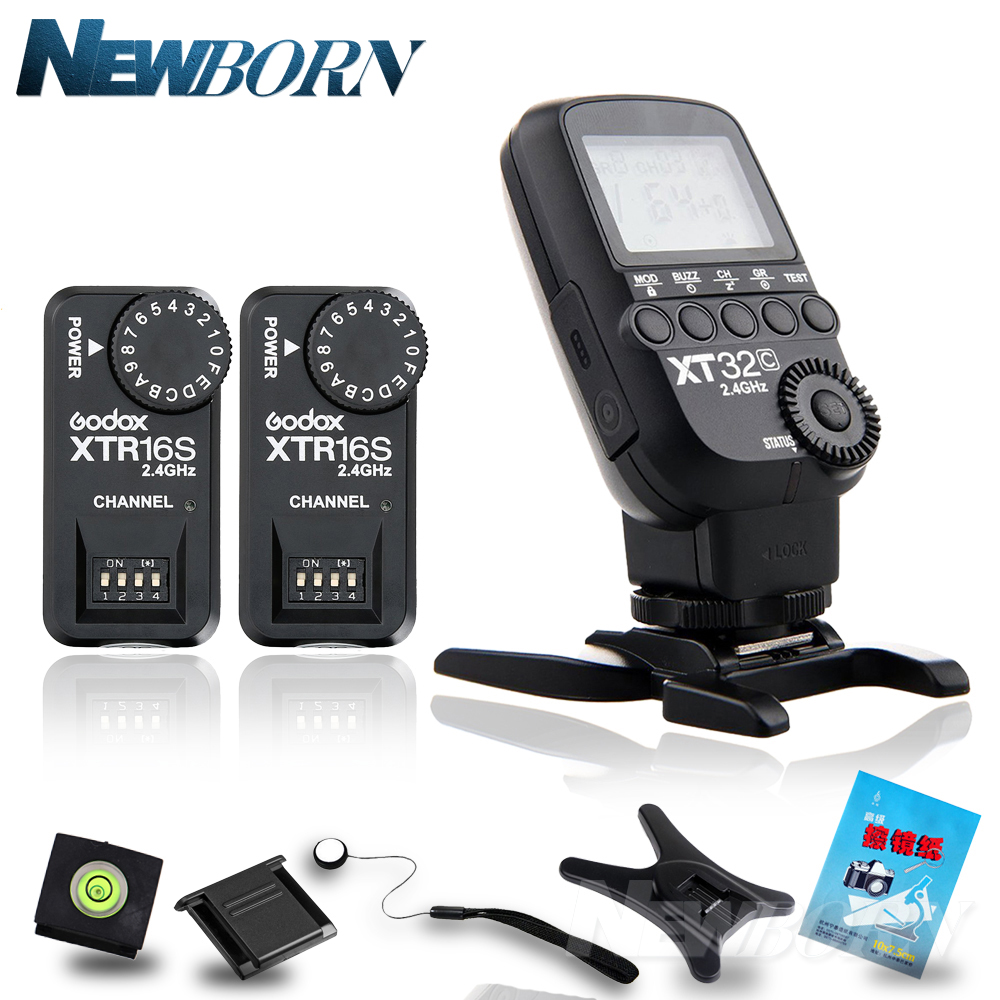 купить Godox XT32C 2.4G Wireless 1/8000s High-speed sync Flash Trigger+ 2X XTR-16S for Canon /GODOX V850/V860/V850II/V860C V860N Flash по цене 3616.79 рублей