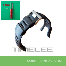 SUUNTO Ambit1/2/3 peak 2S 3s 3run Men Watch's Waterproof Rubber Strap Watchband Steel Buckle + Screwdriver+ screw