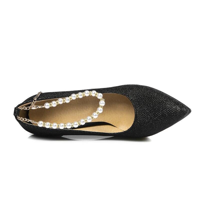 Plate Super Noir Sexy Noir Argent Femmes Mince Sangle Pompes Parti Talon Chaussures argent Bout Robe Haute Boucle or forme Mode Pointu Or 5PqwHqad