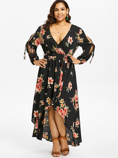 0db69ac339b Wipalo Plus Size 5XL Slit Sleeve Floral Maxi Dress Back Cut Out Surplice High  Low Dress