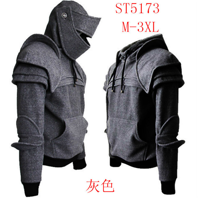 Drop Shipping xxxl xxl xl Medieval Vintage Warrior Soldier Knight Mask Armor Knee Sweater Jacket Hoodie Halloween Top
