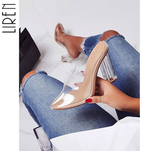 Liren 2019 Sweet Women Pumps Square High Heels Transparent Slip-On Gladiator Female Pointed Toe Casual Wedding Sexy 40