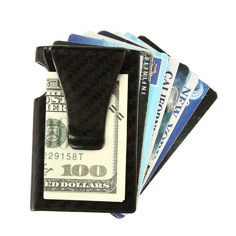 Money-Clip Wallet Id-Holder Credit-Card Anti-Thief Carbon-Fiber Rfid Men
