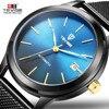 TEVISE Men Watches Gold Mesh Steel Automatic Mechanical Watch Luxury Brand Waterproof Men Watch Calendar Clock