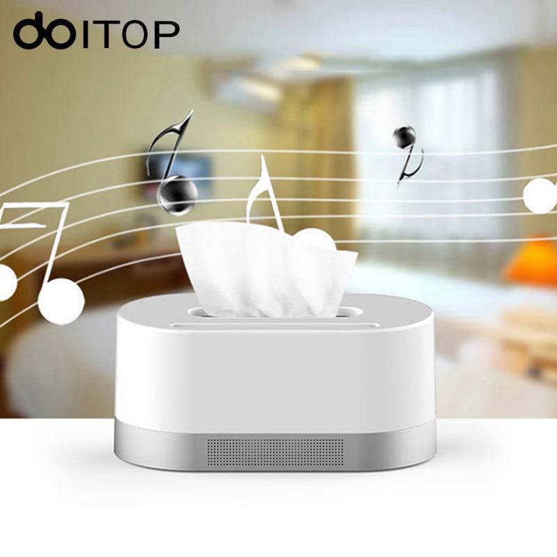 DOITOP boîte à mouchoirs sans fil BT haut-parleur stéréo musique Soundbox haut-parleur et Support de téléphone fonction Support TF carte U disque nouveauté cadeaux
