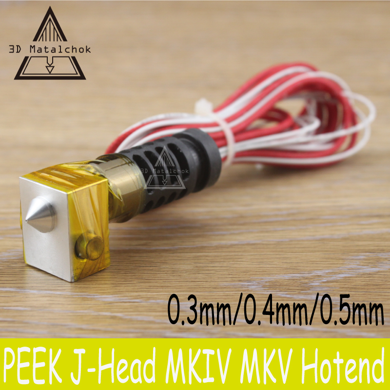 Reprap 3d printer peek J-head Hotend extruder nozzle hot end kit 0.3mm,0.4mm,0.5mm 1.75mm/3mm filament Extruder i3 Mendel heacent mk8 0 3mm nozzle 1 75mm filament extruder for makerbot reprap mendel i3 diy 3d printer