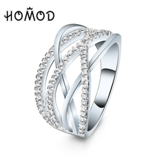 HOMOD Trendy Silver Color Ring Cross Rings with Micro Paved Cubic Zirconia For Women Jewelry Bague Femme