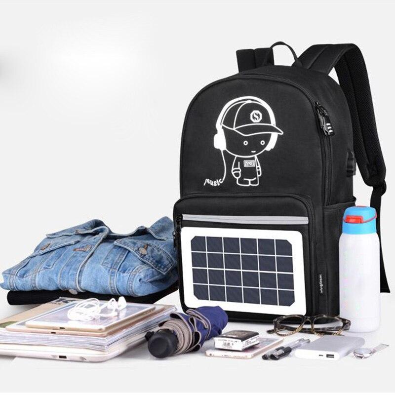 2018 Hohe Kapazität Kühlen Solar Powered Rucksack Usb Lade Anti-diebstahl Laptop Rucksack Für Männer Schulter Taschen 88 Beste Sal