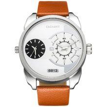 De los nuevos hombres de moda casual deportes reloj de la marca dial de plata de múltiples zonas horarias CAGARNY relojes militares relogio masculino