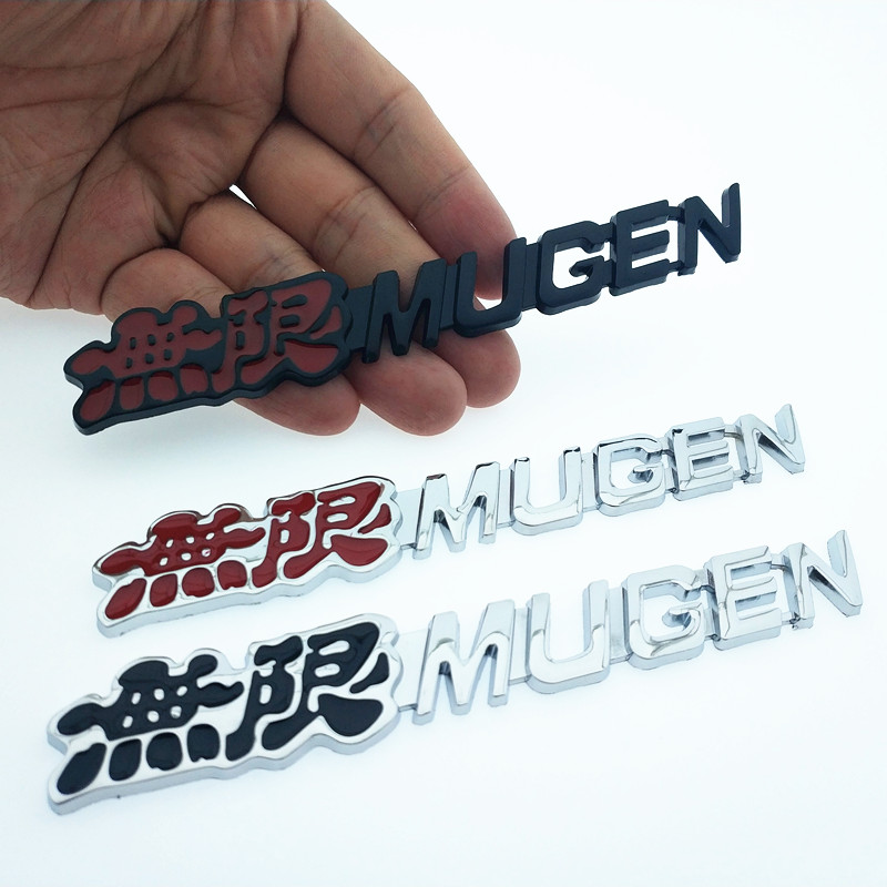 CDIY 3D Chrome Metal Mugen Emblem Logo Rear Badge Car Trunk Sticker Car Styling For Honda Civic Accord CRV Fit And So On