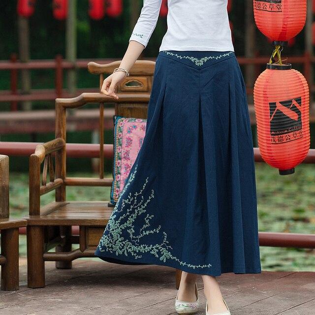 c9694e206 € 22.48 30% de DESCUENTO|2017 Vintage bordado falda cintura elástica  algodón verano Faldas Largas mujeres Faldas Largas Elegantes en Faldas de  La ...