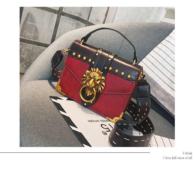 Lion Head Lock Shoulder Bags Female Handbag Women PU Leather Crossbody Bag