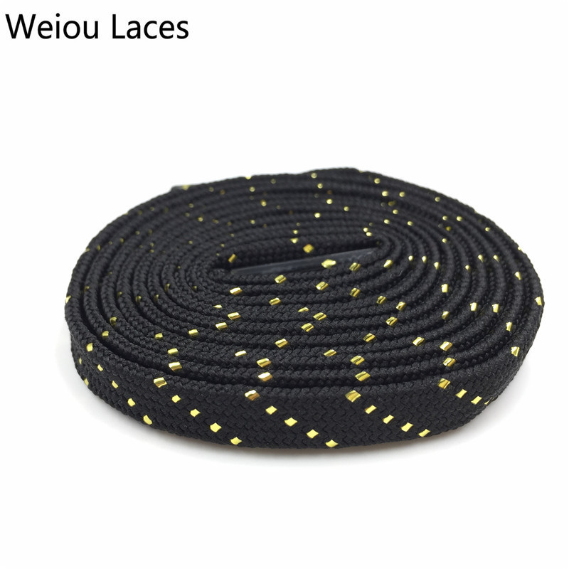 Official Weiou Fancy Glitter Black White Gold Shoe Laces Shiny Flat Unique Bootlaces Customized Metallic Shoelaces Sparkle Lacet