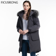FICUSRONG Fashion Woman Warm Long Coat 2019 New Winter Jacket Women Fur Collar Parka Plus Size Cotton Outwear Parkas Female