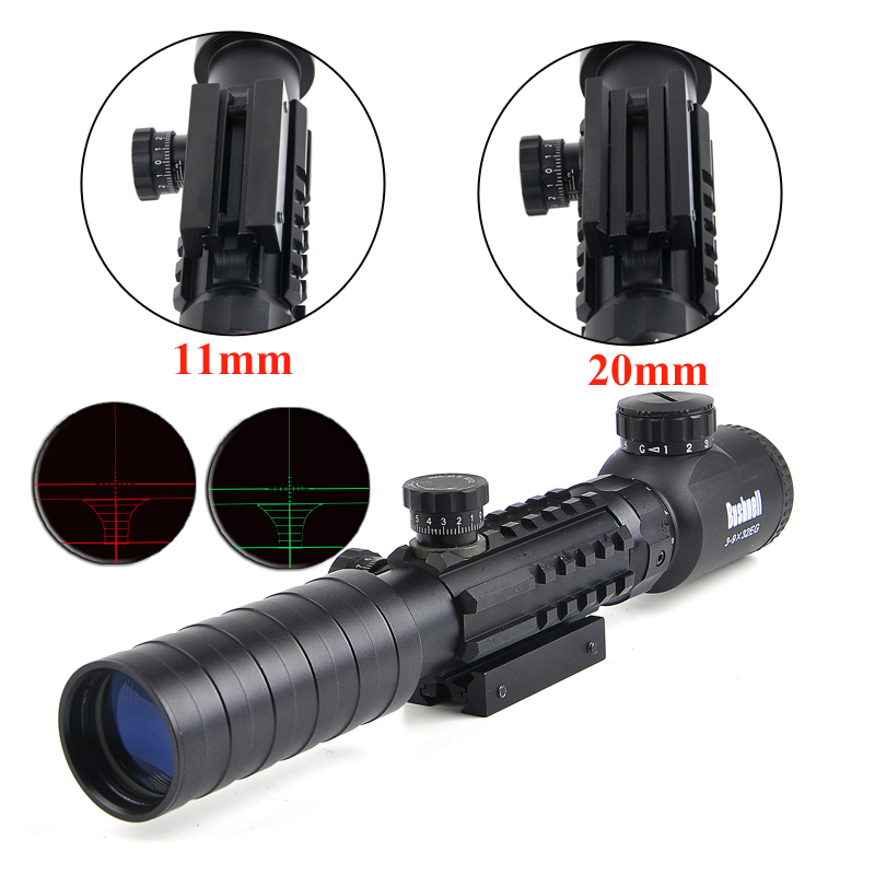 BUSHNELL 3-9x32 EG Hunting Scope Red /Green Dot Illuminated Sight Tactical Sniper Scopes w/22mm For Air Gun mossy oka lb 3 9x32 hunting scopes tactical riflescope sniper scope outdoor tactical hunting gun with 11 20mm mount