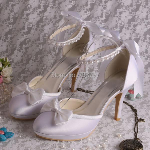 (20 Colors)Custom Handmade White Satin Wedding Bridal Shoes with Ribbon Beads