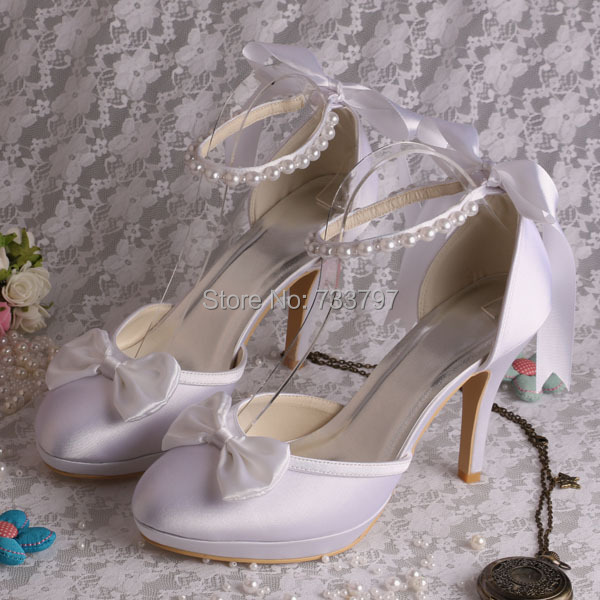 21774aa3a00 (21 Colors)Custom Handmade White Ivory Satin Wedding Bridal Shoes with  Ribbon Beads-in Women s Pumps from Shoes on Aliexpress.com