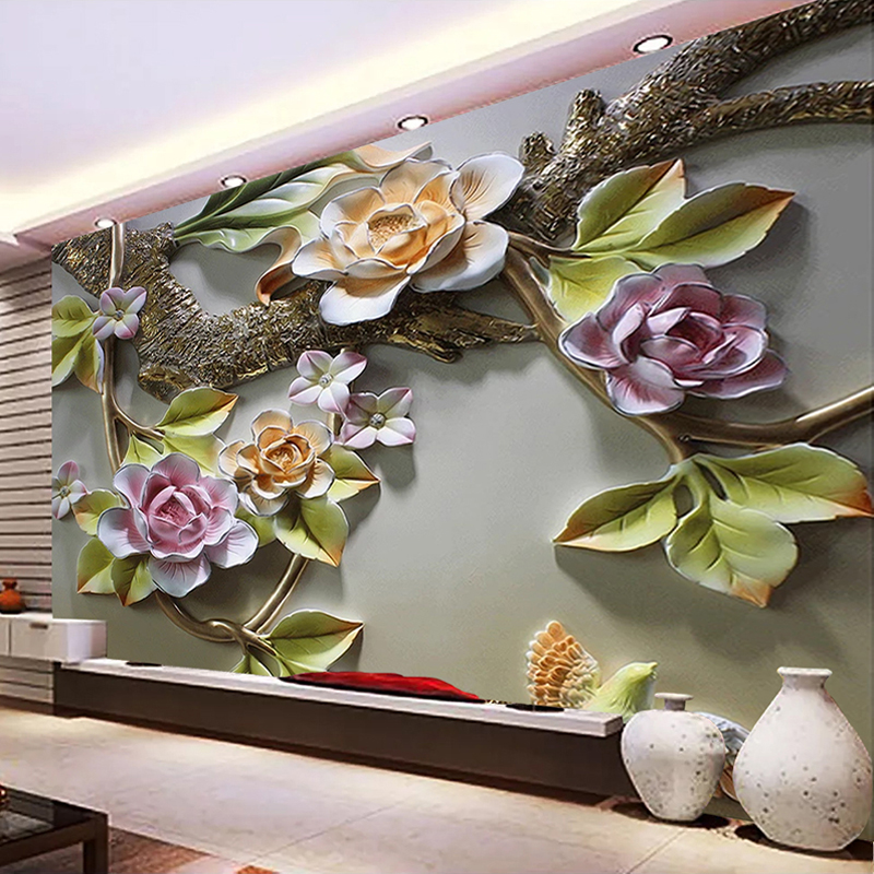 Custom Mural Wallpaper 3D Flower Bird Wall Papers Home Decor Living Room TV Background Wall Decorative Painting Papel De Parede