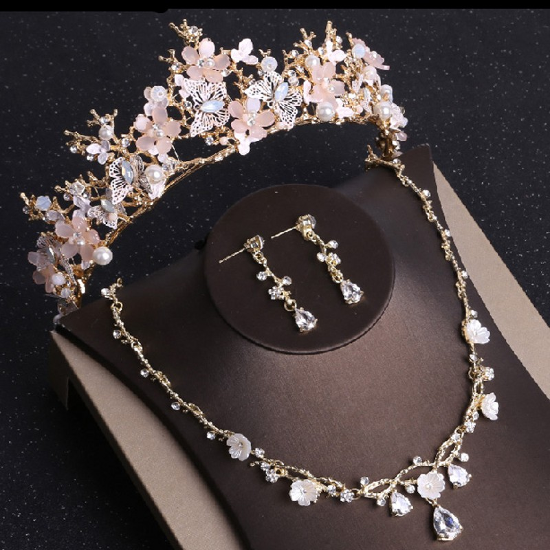 Jewelry-Sets Necklace Earrings Rhinestone Bridal Gold Butterfly Women Crystal-Costume
