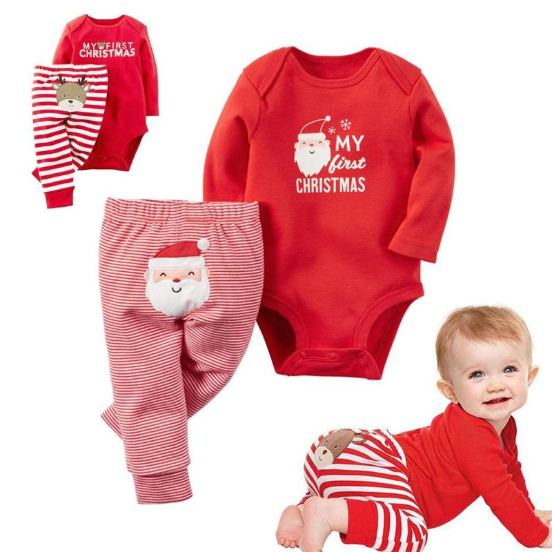 Christmas baby clothing set Winter long sleeve romper pants sat Infant newborn jumpsuit Roupas Bebes boys girls clothes D3 ...