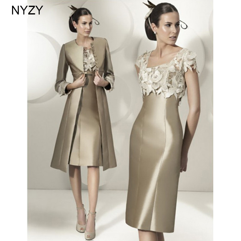 NYZY M11 Satin Dress Party Two Piece Champagne Mother Of The Bride Dresses Outfits With Jacket/Coat/Bolero Custom Size 2019