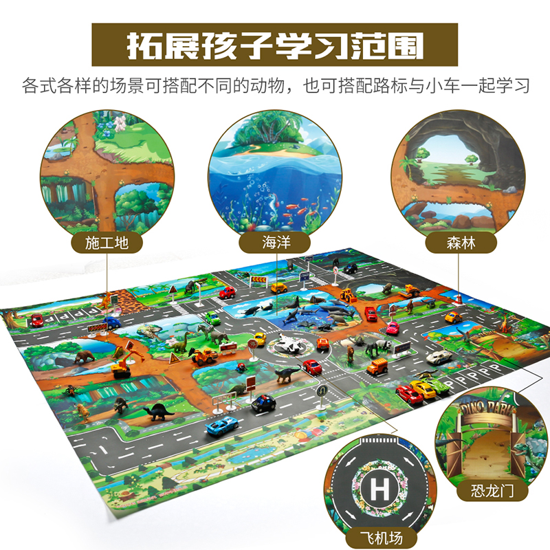 HTB1K.hdaozrK1RjSspmq6AOdFXag North European Style Kid Car City Scene Traffic Highway Map Play Mat Educational Toy For Children Toddler Climb Game Road Carpet
