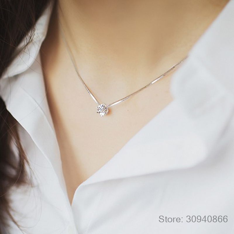 2019 New Drop Shipping 925 Sterling Silver Necklaces Crystal Zirconia Pendants&Necklaces Jewelry Collar Colar De Plata